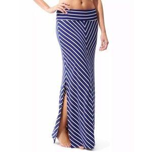 Athleta Seaside Navy Chevron Stripe Maxi Skirt XL